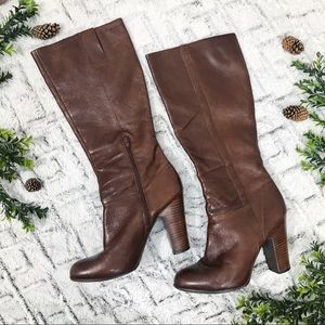 Nine West Magic Brown Knee High Heeled Boots